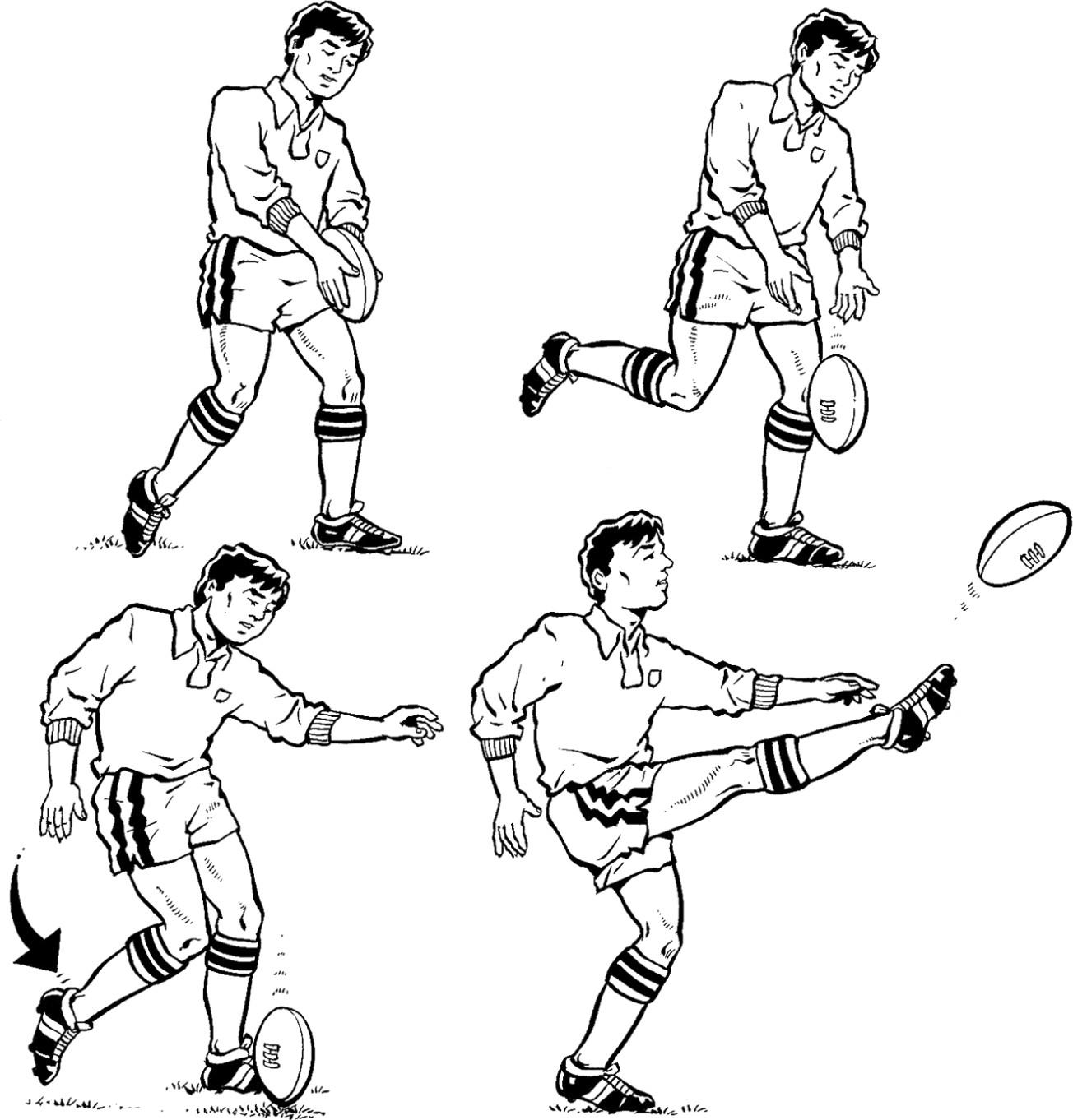 Figure 2-3: Scoring a drop goal with a drop kick requires a lot of skill.
